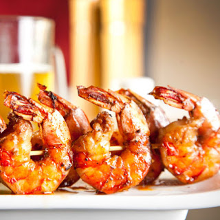 Barbecued Shrimp with Pineapple Chutney.