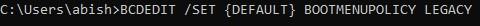 Legacy Advanced Boot Menu activation command line