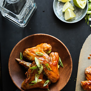 Honey-Lime Baked Chicken Wings with Tequila Chipotle Glaze.