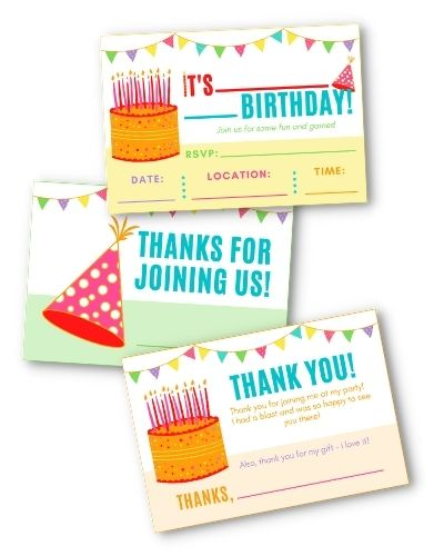 Instant Party Toolkit Invites, Thank You Cards, and Goody Bag Tags