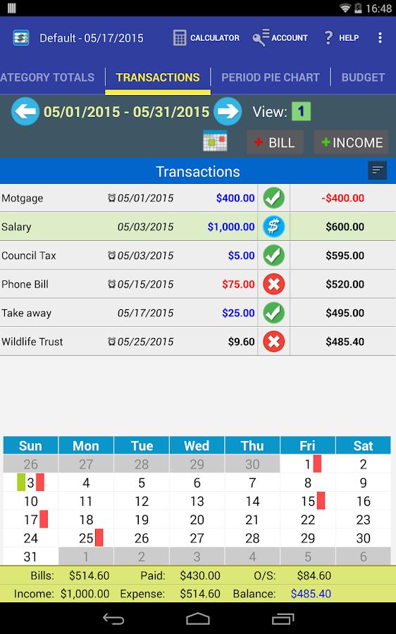 MoBill Budget and Reminder - screenshot