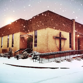 St. Isaac Jogues in the Snow by Chris Montcalmo - Buildings & Architecture Places of Worship ( religion, winter, church, outdoors, snow, architecture )