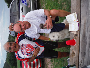 Photo: Day 24 Hot Springs SD to Mt Rushmore (Keystone SD) 53 miles 5600' climbing Dale and Tom with Allen Ranch Camp watch dog Steve. Steve guards the resident sheep at night