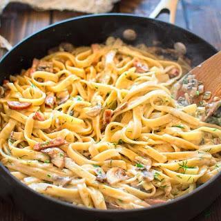 Pasta with Mushrooms and Kielbasa.