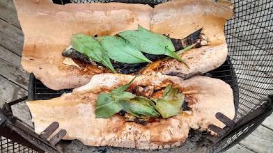 Photo: Cooking fish on birch bark