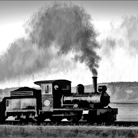 Memories by Kittie Groenewald - Digital Art Things ( monochrome, train, transportation )