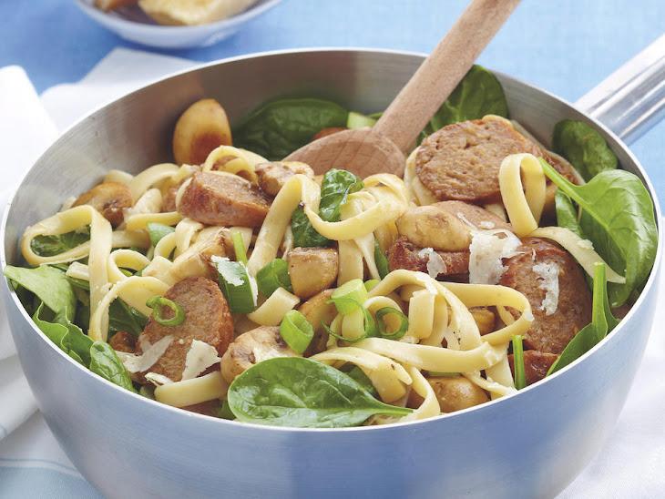 Pork Sausage and Mushroom Fettuccine Recipe