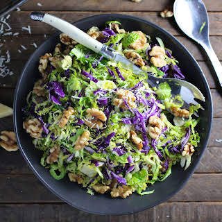 Shredded Brussels Sprout and Red Cabbage Salad with Walnuts and Pecorino.