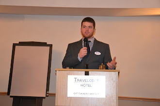Photo: ASHRAE OVC March Meeting - Richard Cameron thanking Students and Companies for attending Career Fair