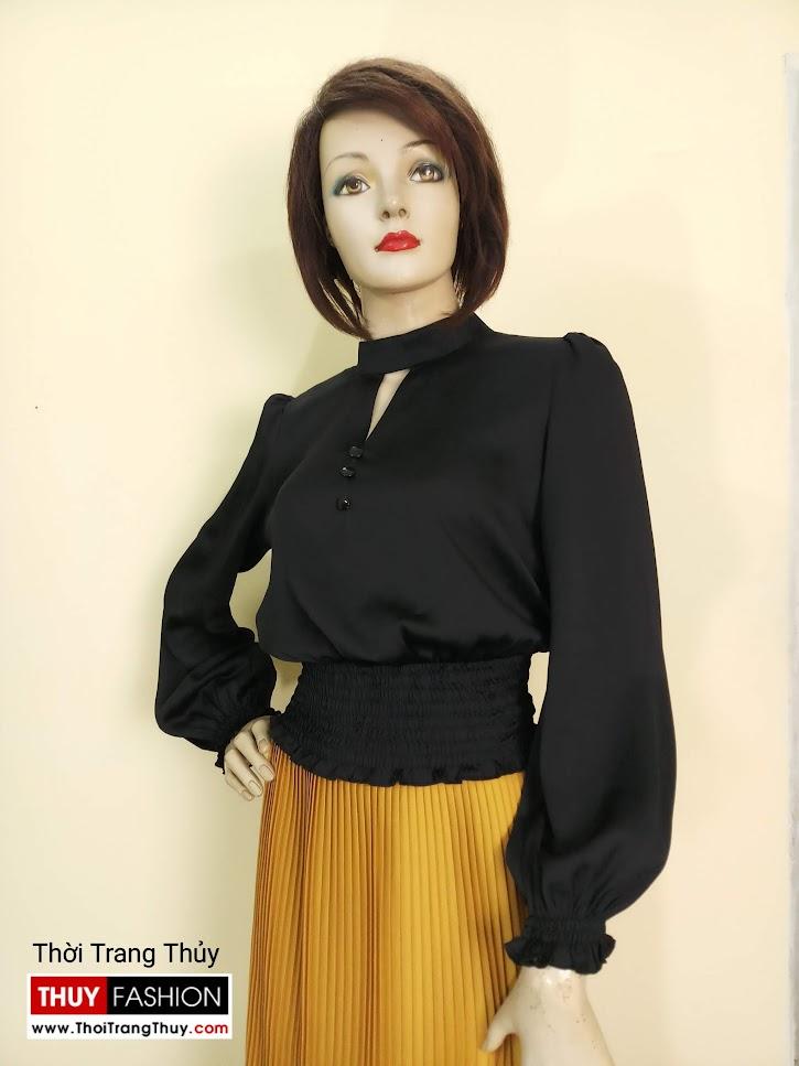 Áo nữ tay bồng nhún chun eo vải lụa đen V672 đà nẵng