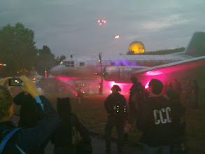 Photo: flying quadrocopters with leds