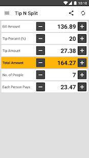 Tip N Split Tip Calculator - náhled