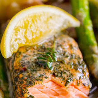 Sheet Pan Salmon with Creamy Scalloped Potatoes and Asparagus.