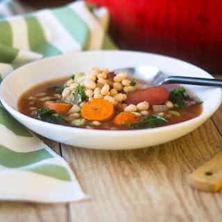 Vegan Navy Bean and Kale Soup.