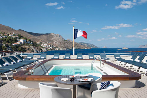 The pool deck on Ponant's luxury expedition ship Le Lyrial.