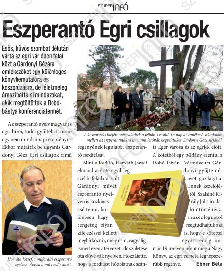 Photo: Artikolo en Szuperinfó (Eger)