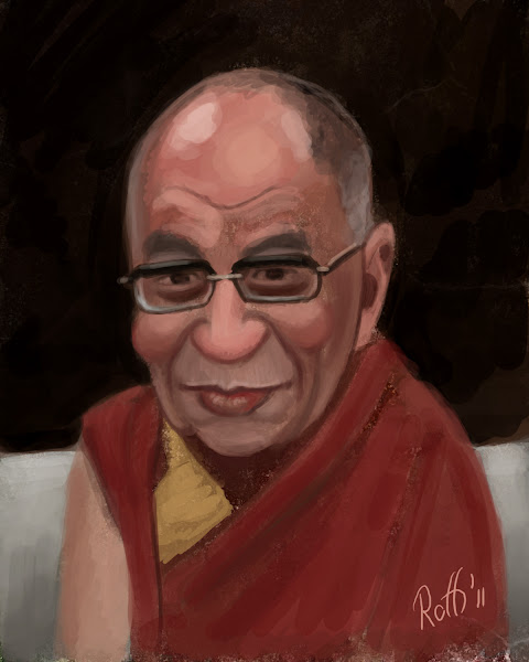 Photo: Painted this while watching the +Dalai Lama and +Archbishop Desmond Mpilo Tutu Hangout while in a Hangout with +Daria Musk +Cam Meadows +Paul Roustan +Samantha Villenave +Chee Chew +Pete Johnson +Johnathan Chung +Robert Anderson +Steven Vargas and +Robert McGee