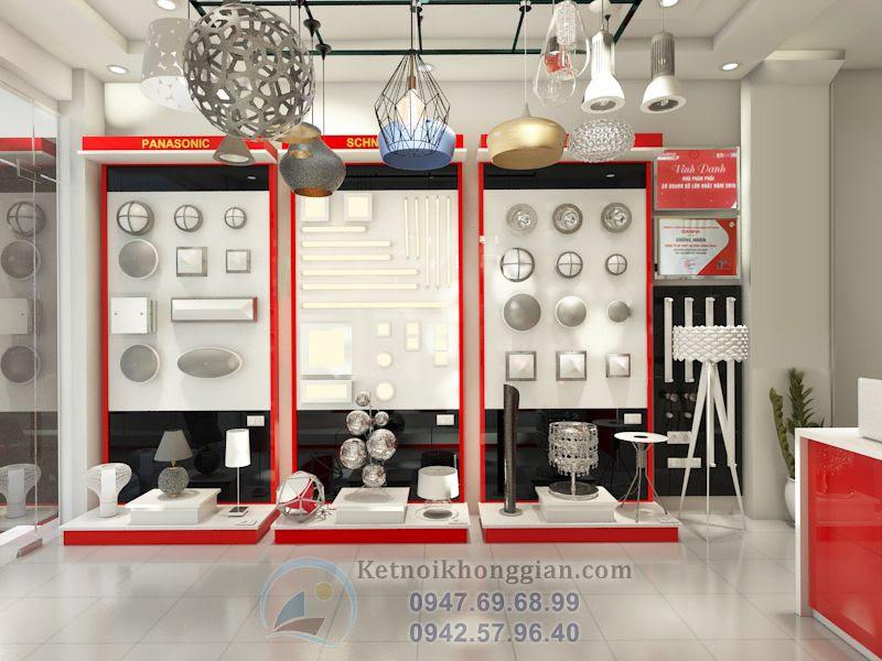 thiết kế cửa hàng đèn điện hợp mệnh anh Đàn