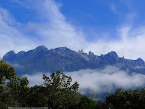 Photo: Mount kinabalu Peaks from a distance – we were there a day earlier; spectacular view looking out from our balcony.