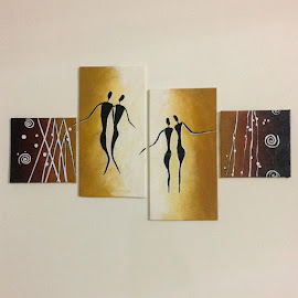 Golden Couple by Sangeeta Paul - Painting All Painting