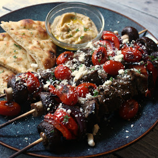 Steak Kabobs with Blistered Tomatoes and Feta