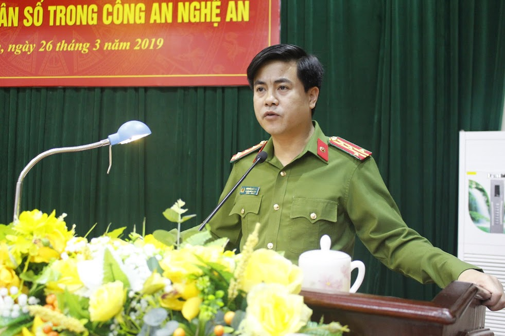 Đồng chí Đại tá Nguyễn Đức Hải, Phó Giám đốc Công an tỉnh chỉ đạo Hội nghị
