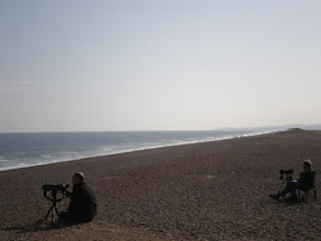 Photo: Norfolk Coast Path - From Wiveton to Cromer - Birdwatchers on the Beach after Cley