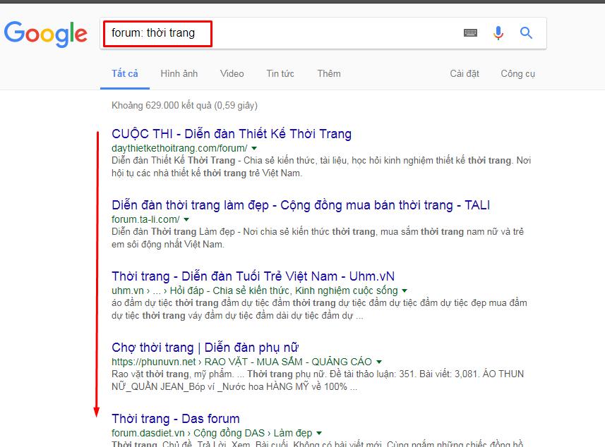 Tìm các diễn đàn thông qua trang Google