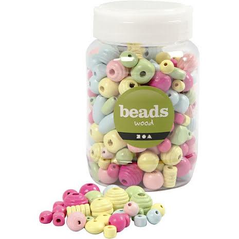 Träpärlor pastell - 175 gram