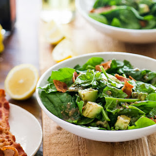 Spinach Bacon Salad with Avocado Vinaigrette