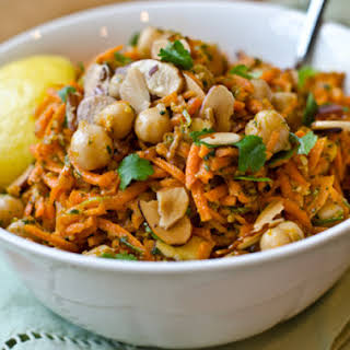 Carrot and Chickpea Salad With Fried Almonds.