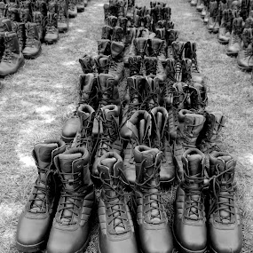Legless Parade by DJ Cockburn - Artistic Objects Clothing & Accessories ( england, footwear, historic, britain, living history, display, hiking, heritage, history, transport, 2018 combined ops military & air show, headcorn, transportation, grayscale, ashford, kent, uk, walking, monochrome, clothing, black and white, boot, shoe, army surplus,  )