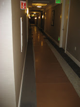 Photo: Protective flooring down the hallway to transport the boxes over.