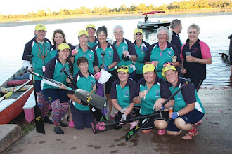 Photo: Pendragons Abreast succeeds in completing the marathon! Champagne flows!  photo by: Ave Gassman of the Kununurra Dragon Boat Club