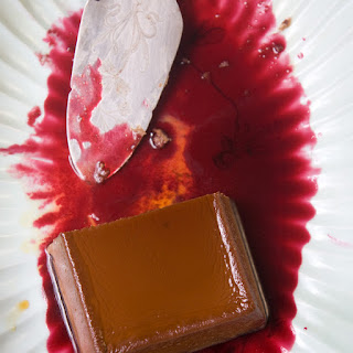 Creamy Chocolate-Cheese Flan with Hibiscus Sauce