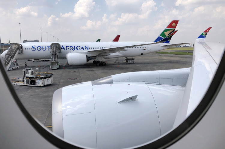 A South African Airways aircraft is seen at OR Tambo International Airport in Johannesburg on January 12 2020. Picture: REUTERS/ SUMAYA HISHAM