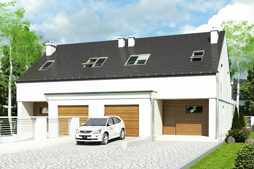projekt Makolągwa z garażem 1-st. bliźniak A-BL1
