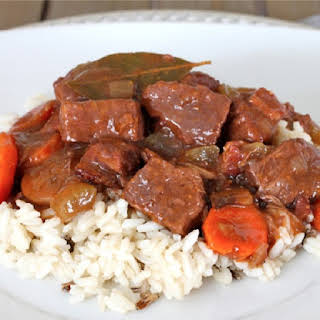 Pressure Cooker Pork Stew with Sherry and Red Wine.