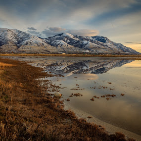 Wasatch Front Reflection by Brandon Montrone - Landscapes Mountains & Hills ( field, mirror, water, reflection, winter, mountain, nature, sunset, snow, symmetry, puddle, landscapes, landscape, golden hour )