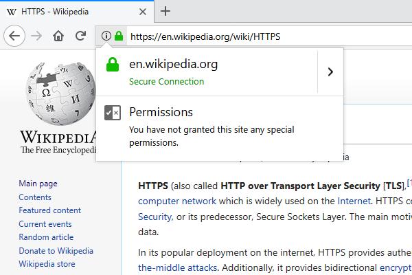 SSL Certificate Info Box in a Browser