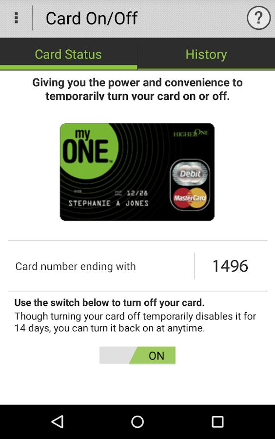Higher One Mobile Banking App- screenshot