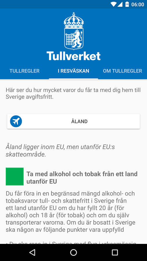 Tullregler- screenshot
