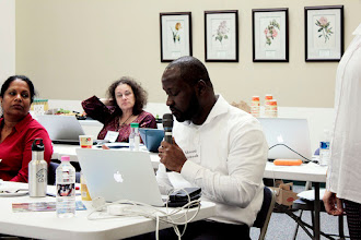 Photo: Akwasi Asamoah asks a question of the biological stressors panel.