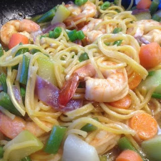 How to make Pancit Canton, Chinese Noodles Stir Fried with Shrimps and Vegetables.