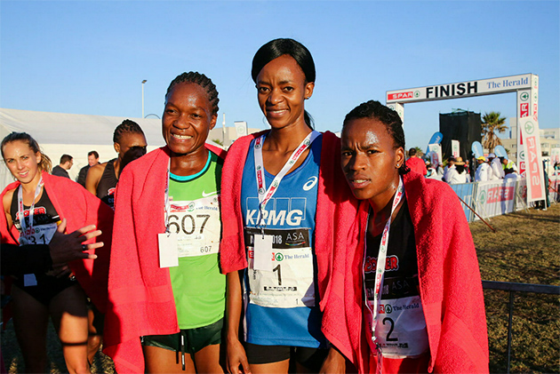 From left, third place winner of the 10km Patience Murowe, winner of the 10km challenge Kesa Molotsane and second place runner Glenrose Xaba