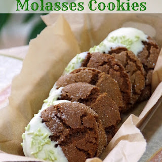 White Chocolate Dipped Chewy Molasses Cookies