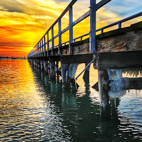 Never ending pier  by Ann Goldman - Landscapes Sunsets & Sunrises ( water, ice, sunset, pier, bayside,  )