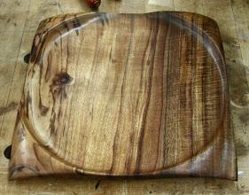 "Photo: Richard Webster - figured koa square platter - 10"""