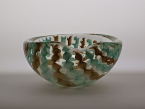 Photo: Attributed to Seguso. Bowl with twisted ribbon canes and adventurine.