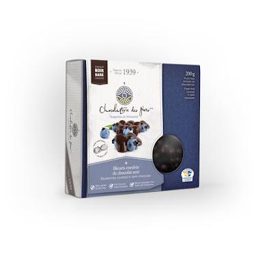 Chocolat Bleuets enrobés de chocolat noir Boîtes